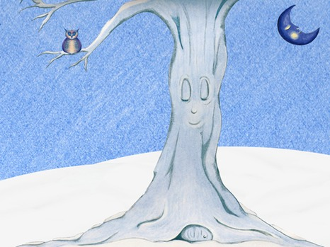16 - Sleeping tree, owl and crescent moon ipad